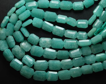 8 Inch Strand,Finest Quality Natural AMAZONITE Faceted Nuggets Shape 10-14.5mm Size