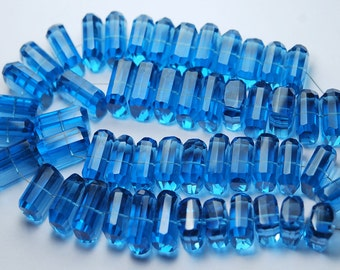 7 Inch Strand,London Blue Quartz Faceted Fancy Cut Nuggets Shape,14-16mm Long,Great Price