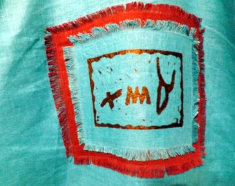 Emet (Truth) 100% Linen Caftan Tunic with Hand-Painted Stamped Pictorgraph Hebrew and Decorative Trim