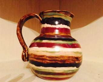 Striped Pitcher with Decorative Handle