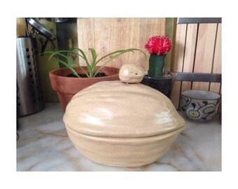 Vintage Glazed Ceramic Walnut by Robert Paul -1971- Handmade Ceramic Box/Bowl/Tinket Holder