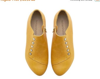 SUMMER SALE Yellow handmade shoes / Grace Yolk flat leather shoes by Tamar Shalem