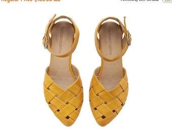 SUMMER SALE Yellow braided handmade Leather  flat Sandals / Sophie by Tamar Shalem
