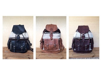 LEATHER and WOOL BACKPACK, 16 INCHEs, ASSORTEd leather rucksack, Backpack Leather, rucksack, hipster Backpack, leather rucksack, Leather bag