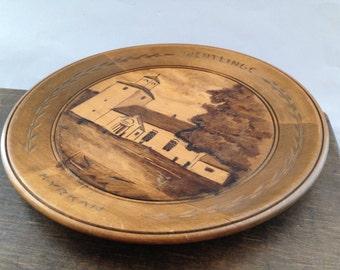 Swedish vintage wooden plate Handmade wood plate Swedish folk art
