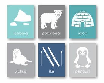Arctic Animal Nursery Print, Polar Bear Art, Arctic Nursery, Antarctica, Penguin Nursery, Walrus, Igloo, Iceberg, Winter Art - Set of 6