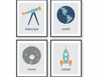 Outer Space Decor, Space Nursery, Rocket Art, Boys Room Decor, Astronomy Art, Childrens Art, Kids Wall Decor, Science Art, Playroom Art