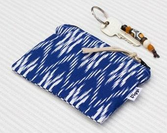 Ikat Womens Wallet, Zipper Pouch, Blue Boho Coin Purse, Gift for Her