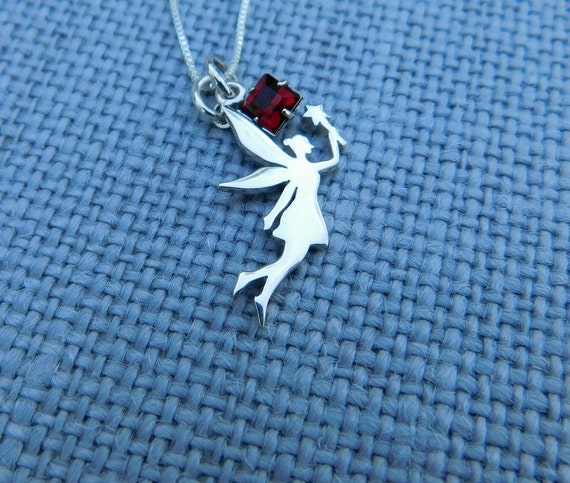 Sterling silver fairy necklace, faery necklace, personalized jewelry, mythical jewelry, birthstone necklace