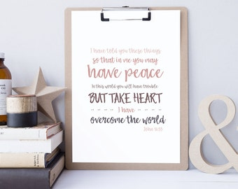 Bible Verse Art - John 16:33 - Scripture Print