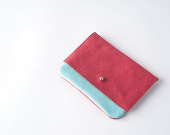 SALE Pastel Blue Leather & Lipstick Red Suede minimal coin purse/ card holder/ pouch with stud fastener / one- off/ stocking filler