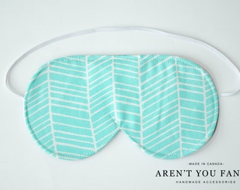 Eye Mask, Sleep Mask, Travel Mask, Handmade Cotton Blue and White Modern Pattern Mask by Aren't You Fancy
