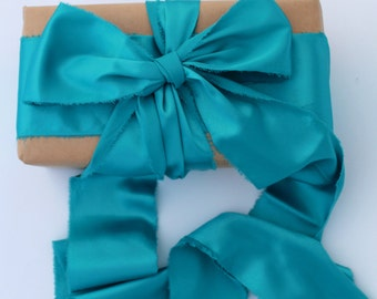 "Turquoise Ribbon. 3"" Wide Luxury Ribbon. Wedding Bouquet Ribbons. Hand Torn and Frayed Satin Ribbon Bundle. 3 Mtrs Turquoise Gift Wrap"