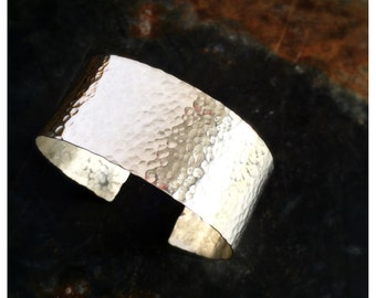 Wide Argentium Sterling Silver Hammered Cuff Bracelet - Wide Sterling Silver Cuff - Silver Hammered Cuff - Gifts - Free Shipping