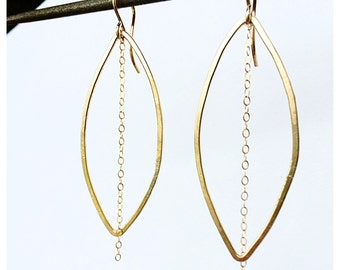 Long Gold Earrings - Gold Filled earrings -Dangle earrings - Gold filled oval earring - bridesmaid gift - Gifts for her -free shipping