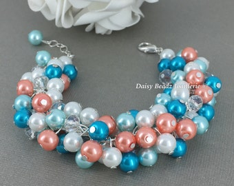 Beach Wedding, Pearl Cluster Bracelet, Coral and Aqua Bracelet, Bridesmaids Gift, Coral Cluster Bracelet, Turquoise and Coral Bracelet