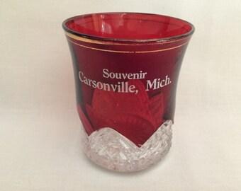 CARSONVILLE MICHIGAN ANTIQUE Ruby Flash Souvenir Glass - Carsonville Michigan Souvenir - Vintage Ruby Flash