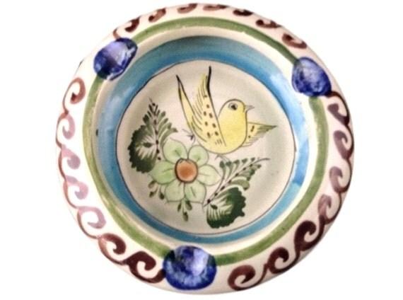 Tonala Ashtray Mexican Pottery Yellow Bird Folk Art Design Vintage Ash Tray Signed CAT