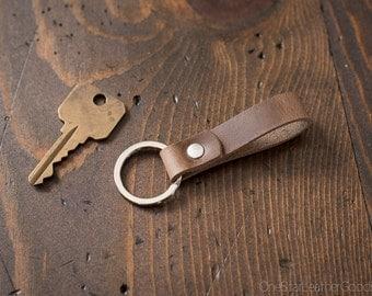 Key fob & keyring, keychain, Horween Chromexcel - natural cxl/silver