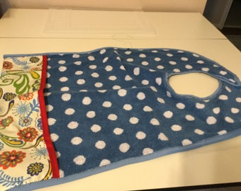 Adult Bib with Blue towel one side and waterproof PUL fabric on other side.Toweling side has pocket