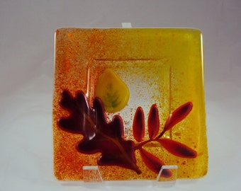 Fused Glass Autumn Leaves Dish
