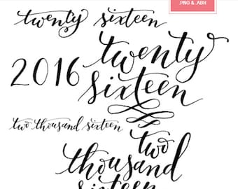 2016 / digital word art / photoshop brushes / *.abr and *.png / modern calligraphy / hand-lettered