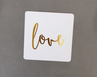 Paper Coaster - Gold Foil Coaster - love Coaster - Wedding Coaster - Baby Shower Coaster - Engagement Coaster
