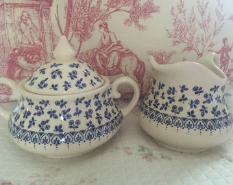 English Country Cottage Staffordshire Ironstone Sugar and Creamer set