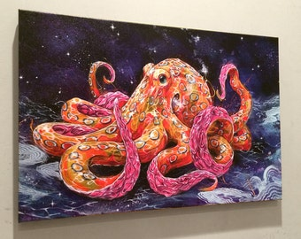 "Octopus Art Print   Giclee Art   Canvas Reproduction of ""Poisonous Bubblegum"" by Black Ink Art"