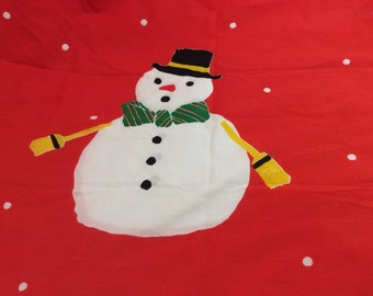 Vera Snowman Pillowcase in Red and White