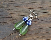 Polish Pottery and Sea Glass Beaded Earrings