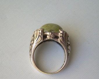 "Celtic Clovers Green Connemara Marble Ring Size 7.25 Ornate Vintage Sterling Silver-""Ireland 925"" Hallmark-Mens Womens Irish Jewelry"
