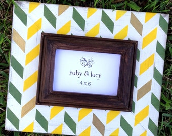 collegiate themed distressed picture frame 4x6 herringbone green & gold | graduation gift | college frame | gift for grad | baylor bears