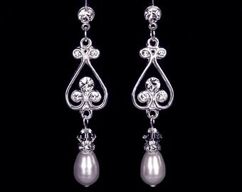 "Wedding, bridal jewelry, pearl and rhinestone earrings, Swarovski, silver, ""Embrace"" earrings"