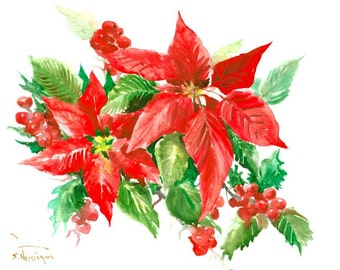 Poinsettia art original watercolor painting christmas red green wall art floral 16 x 12 in