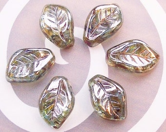 6 Lumi Green 7x12 Semi - transparent leaf beads