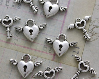 5 Set Antique Silver Heart Small Heart Wing Lock & Key Charms