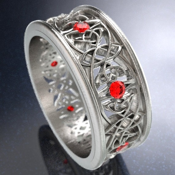 Celtic Wedding Ring With Cut-Through Celtic Butterfly Knot Design With Ruby Stones in Sterling Silver, Made in Your Size CR-1040