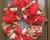 Rustic burlap and red Valentines deco mesh wreath