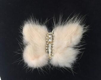 Vintage Cream Fur Butterfly Brooch