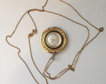 Revlon Pendant Watch Necklace with Italian Gold Chain