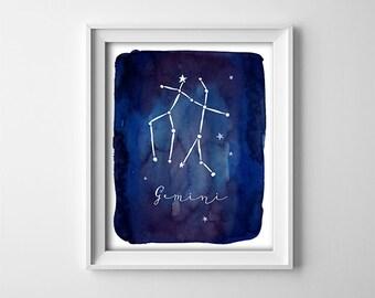 "INSTANT DOWNLOAD 8X10"" printable digital art - Dark Blue - Zodiac Gemini Sign - Astronomy - Constellation - Nursery- SKU:846"