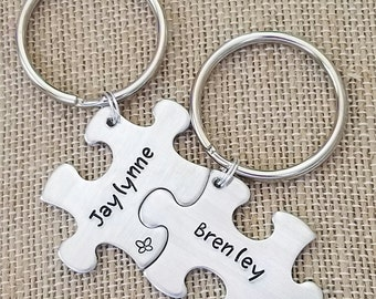 Puzzle Piece Key Chain Set- Best Friends- Hand Stamped- Personalized Gift- Autism Awareness- Matching Gifts- Kids Names-Anniversary- Friends