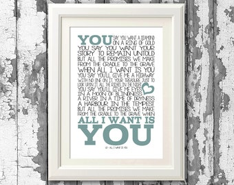 U2  All I want is you 8x10 picture mount & Print Typography song music lyrics for self framing