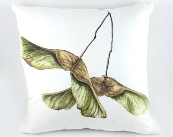 Maple Keys Lux Throw Pillow - 100% Down Filled Square Maple Tree Seed Pod Watercolour Pillow