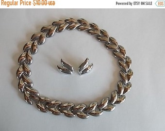 Vintage Silvertone Choker/ Necklace And Earrings