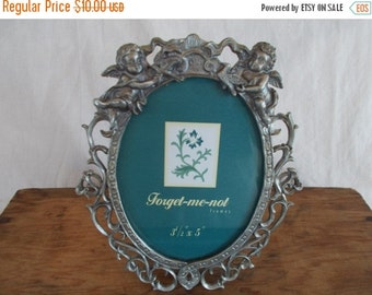 Vintage Small Silverplate Cupid Angels Frame