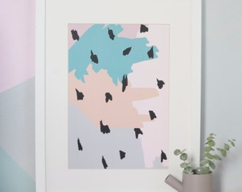 A4 Abstract Dalmatian Spot Print, Modern Art