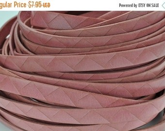 "ON SALE 10MM Triangle Embossed Italian Leather Cord - 2ft/24"" - Salmon Pink"