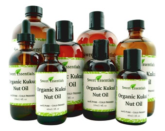 Organic Kukui Nut Oil | Imported From Hawaii | Various Sizes | 100% Pure | Cold-Pressed  | For Hair & Skin Treatments | By Sweet Essentials